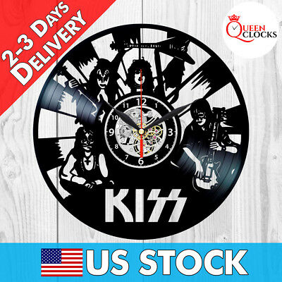 KISS Rock Band Vinyl Record Black Wall Clock Fan Art Best Gifts Home Room