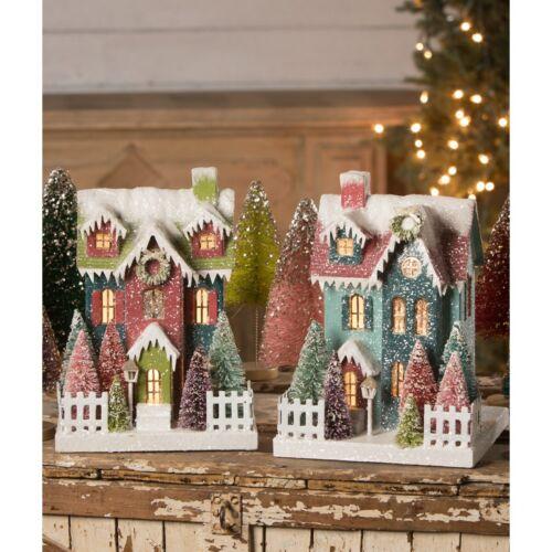 BETHANY LOWE CHRISTMAS JEWEL TIDE PUTZ HOUSES SET OF 2