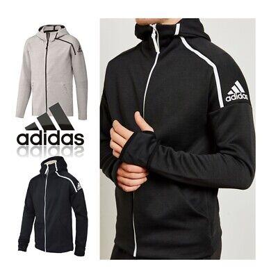 adidas Mens ZNE Training Sweatshirt Hoodie Black Grey Jacket Track Top Size XXL