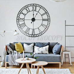 "31"" 80cm Black Iron Round Wall Clock Large Roman Numerals Garden Home Decor Gift"