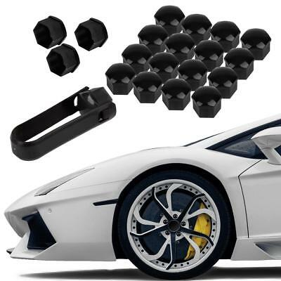 20pcs Black Wheel Lug Nut Center Cover Cap + Removal Tool Fasteners For Audi