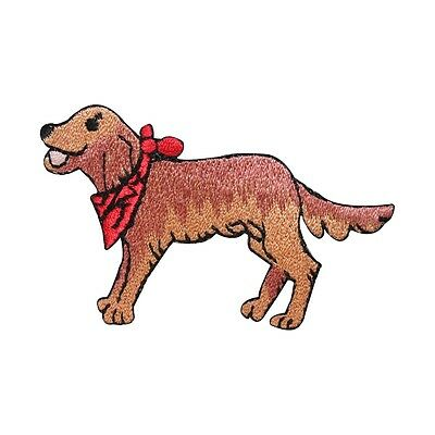 - ID 2790 Golden Retriever With Bandana Patch Dog Pet Embroidered Iron On Applique