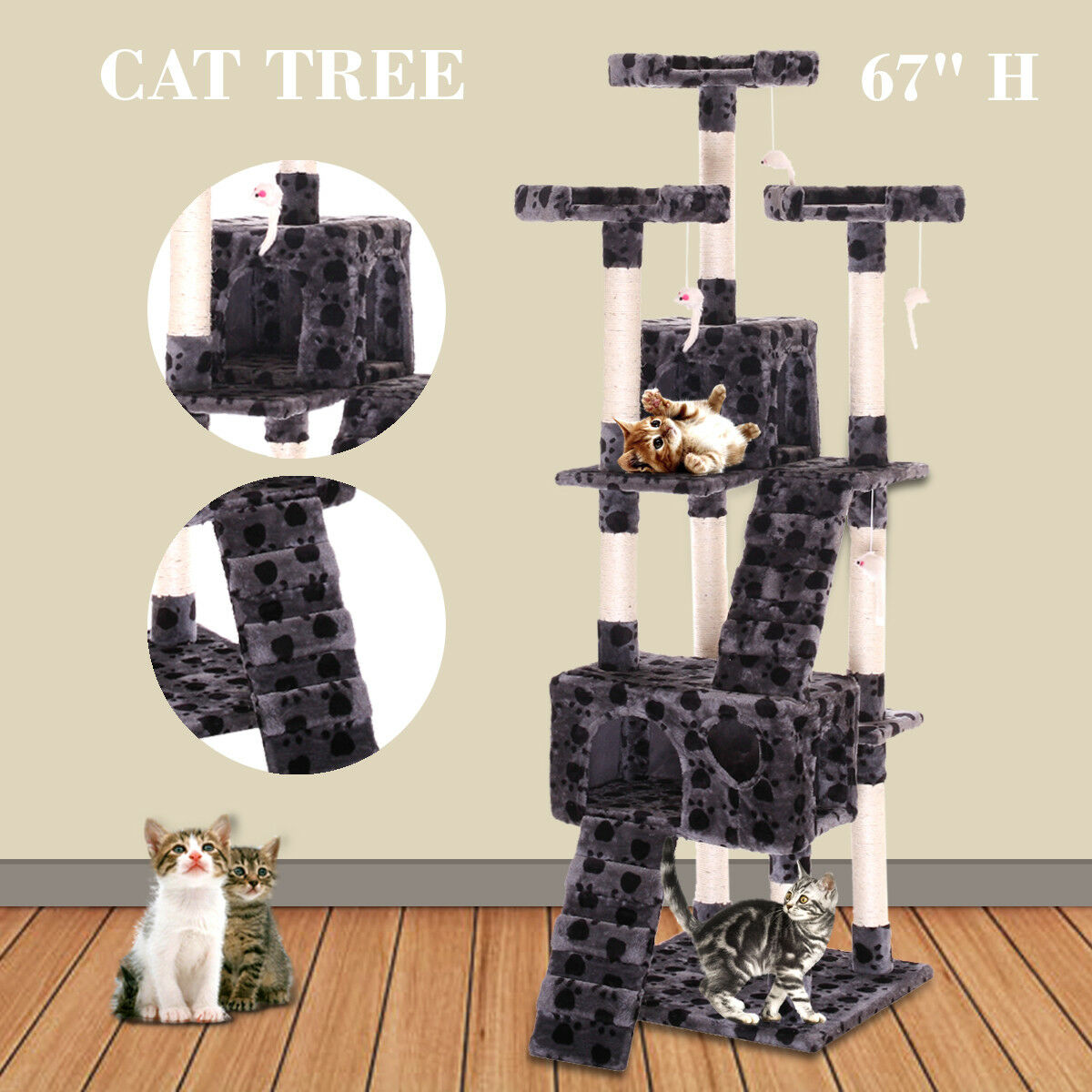 "67"" Cat Tree Tower Condo Furniture Scratching Post Pet Kitty Play House New"
