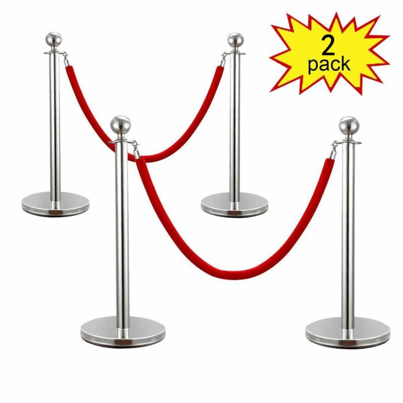 2PCS Stanchion Posts Set Queue Pole w/ Red Velvet Rope Crowd Control Barrier