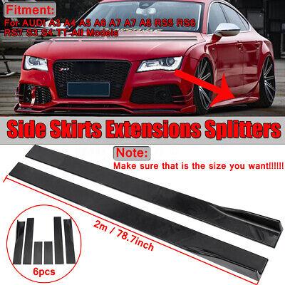 2M Door Side Skirt Extension Rocker Panel Splitter For Audi A3 A4 A5 A6 A7 A8 S3