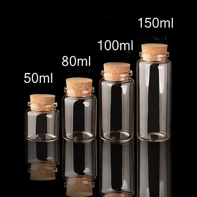 5pcs Small Empty Clear Glass With Cork Lid Bottle 80ml 47mm Craft Storage Vials