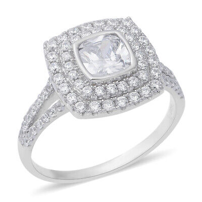 ELANZA White Cubic Zirconia Halo Ring for Women in 925 Sterling Silver