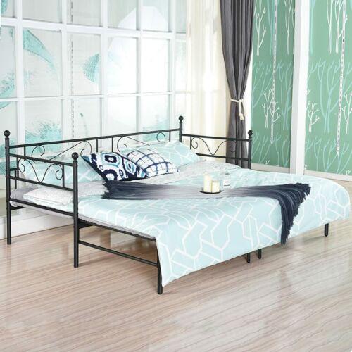 Doppelrahmen Metallbettrahmen mit ausziehbarem Bett 199 x 180 x 95 cm Schwarzer