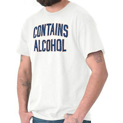 Contains Alcohol Beer Drinking Drunk Bar Gift Short Sleeve T-Shirt Tees Tshirts