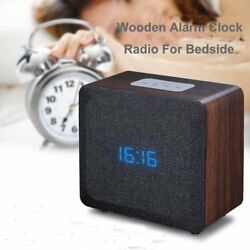 Samtronic Wooden Bluetooth Alarm Clock Radio Speaker, Bluetooth Bedside Stereo S