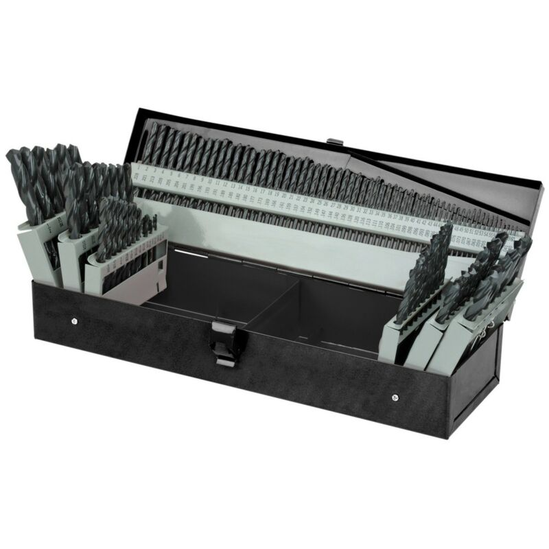 115 Pc High Speed Steel Drill Bit Set with Index Fractional & Metal Drills NEW