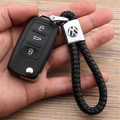 Schlüsselanhänger Lederband aus Leder Metall Logo Emblem für VW Auto Volkswagen - Emblem Aus Leder