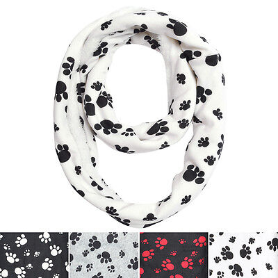 Premium Soft Faux Fur Dog Paw Print Infinity Loop Circle Scarf - Diff Colors