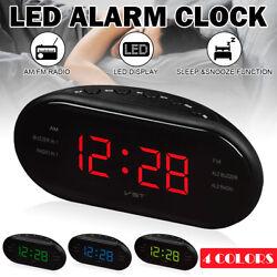 Red Digital LED Display Alarm Clock Snooze Desktop Desk Timer FM/AM Radio  !