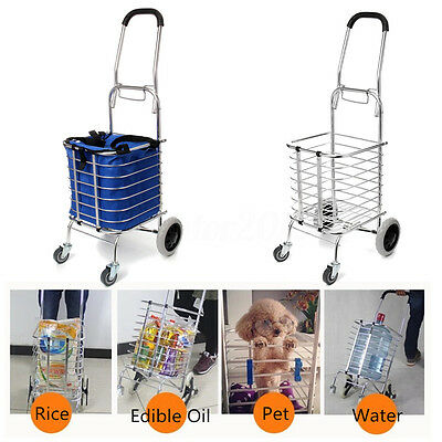Aluminum Folding Portable Shopping Grocery Basket Cart Trolley + Swivel Wheel US