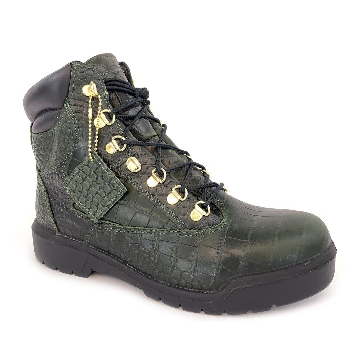 """Timberland Men's Field 6"""" inch Waterproof Crocodylian Green Boots A1PVH"""
