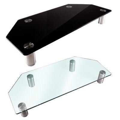 Monitor Riser Black Clear Glass Shelf Desktop Desk Table Corner TV Laptop Stand ()