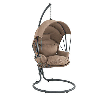 Outdoor Hanging Egg Chair w/ Stand Cushion Patio Garden Swing Seat, Brown