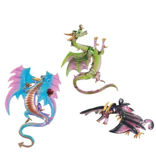 68977 Set/3 Mystical Dragon Glass Halloween Ornament Gothic Dungeons Fantasy