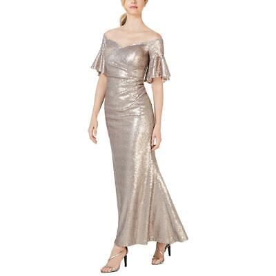 Calvin Klein Womens Taupe Off-The-Shoulder Formal Evening Dress Gown 2 BHFO 8149