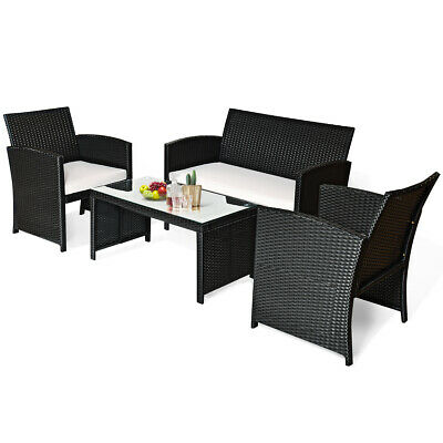 Garden Furniture - 4 PC Rattan Patio Furniture Set Garden Lawn Sofa Black Wicker Cushioned Seat New