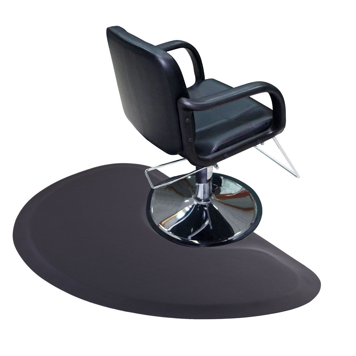 "Black Semi Circle 5'x3' 1/2"" Barber Salon Anti Fatigue Floor"
