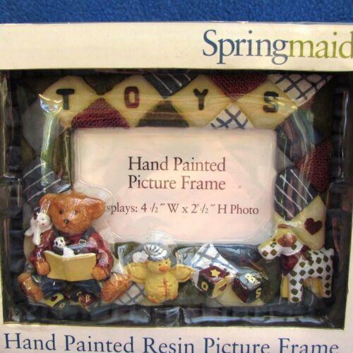 Daisy Kingdom Blue Jean Teddy Bear Nursery Picture Frame Toys Quilted 2.5 x 4.5
