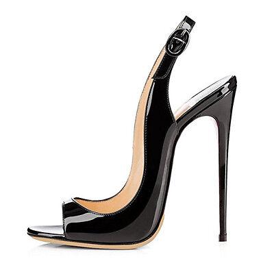 Stiletto Heel Slingback Pumps - onlymaker Women's Peep Toe Heeled Sandals Slingback High Heel Stiletto Pumps