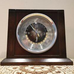 BulovaQuartz Executive World Time Desk Mantle Shelf Wood Clock Vintage Japan