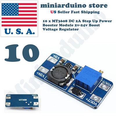 10 X Mt3608 2a Dc-dc Step Up 2v-24v Power Supply Module Booster Regulator 3608