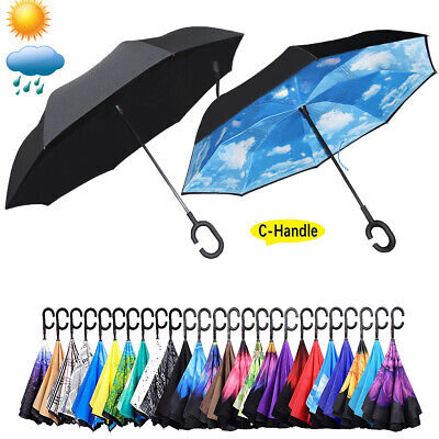 C-Handle Double Layer Umbrella Windproof Folding Inverted Upside Down Reverse p