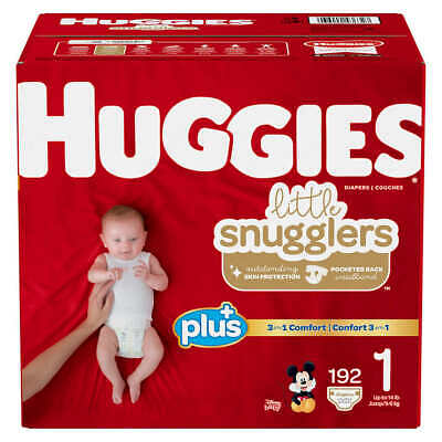 Huggies Little Snugglers Baby Diapers, Size 1: Up to 14lbs, 192ct