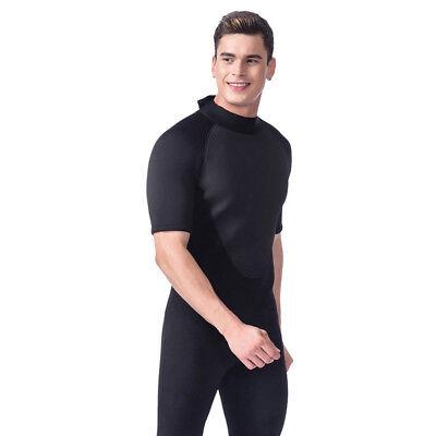 Black Shorty Wetsuit Spring Wet Suit 3mm Stretch Neoprene Short Sleeve Men S-XXL ()