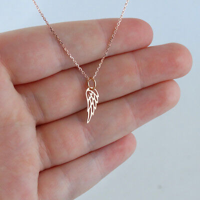 Tiny Angel Wing Charm Necklace - Rose Gold Plated Sterling Silver Memorial (Gold Angel Wing)
