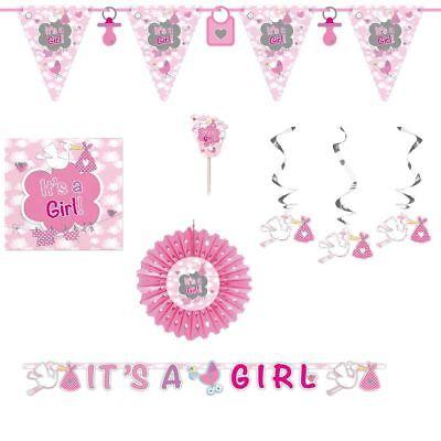 Deko Geburt Mädchen Taufe Babyparty It's a girl rosa Party Girlande Servietten