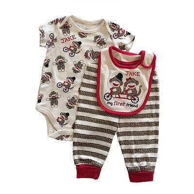 Sock Monkey 3PC Baby Set/  Bodysuit Pants Bib PERSONALIZED FREE  ()