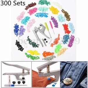 300 Sets 10 Colors KAM Snaps T5 Snap Starter Plastic Poppers Fasteners +1 Pliers