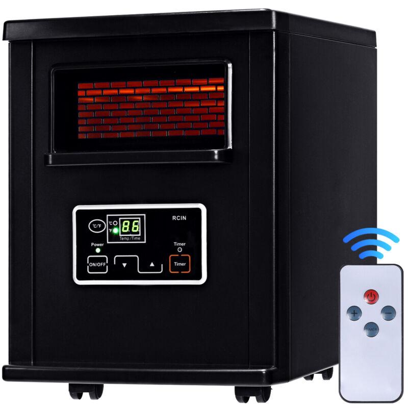 Goplus 1500w Electric Portable Infrared Quartz Space Heater Filter Remote Black