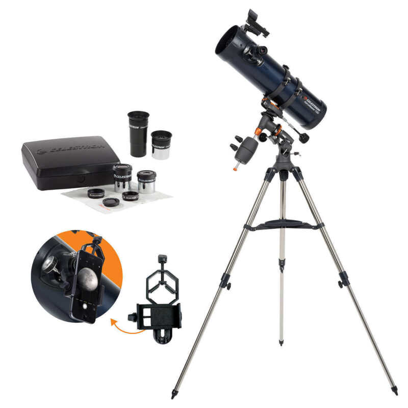 Celestron AstroMaster 130EQ with Eyepiece Kit and Smartphone Adapter Model 32046