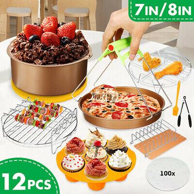 12 PCS  7''/8'' Air Fryer Accessories Set Pizza Pan Chips Ca