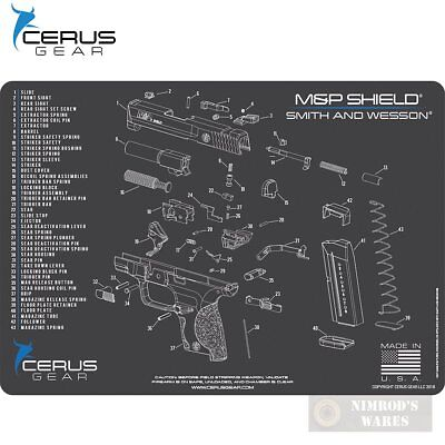 Cerus S W M P Shield Schematic Bench Mat 12  X 17  Hmmpshldschgry  Fast Ship
