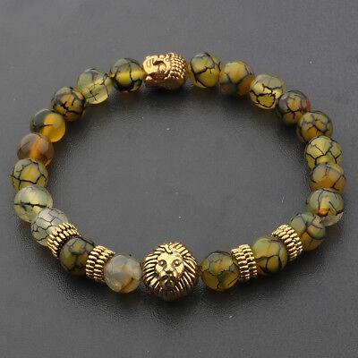 8MM Natural Lava Agate Gold Lion Buddha Head Men's Charm Beads Bracelets Gift