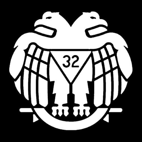 32nd Degree Scottish Rite Masonic Vinyl Decal - White 6 Inch