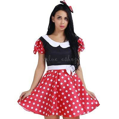 Adult Mini Mouse Costumes (Adult Women Polka Dot Minnie Mouse Costume Outfit G-string Mini Dress Lingerie)