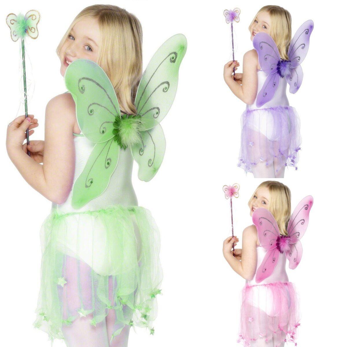 aa39f58dd397 Girls Butterfly Fairy Princess Wings   Wand Party Fancy Dress ...