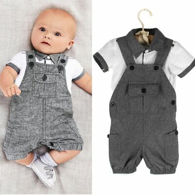 2pcs Gentleman Newborn Infant Baby Boy T-shirt Tops+Bib Pants Outfit Clothes Set