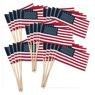 -30- 4X6 INCH COTTON US MADE AMERICAN HAND HELD STICK FLAGS