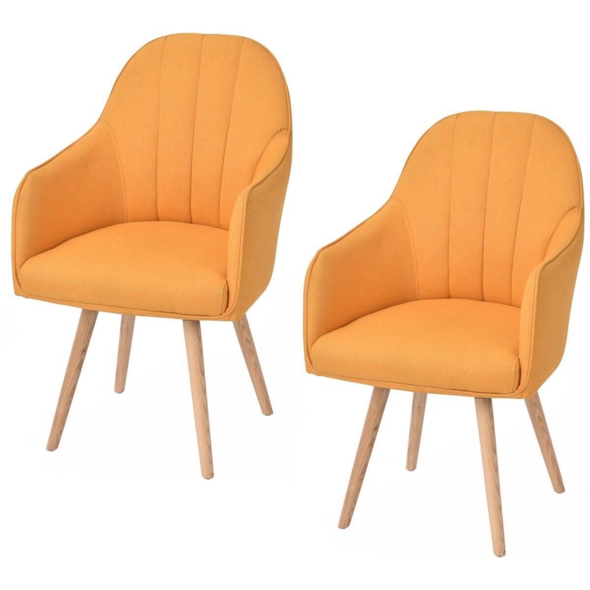 2x Esszimmerstuhl Lehnstuhl Armlehnenstuhl Küchenstuhl Stuhl Sessel Stoff Orange