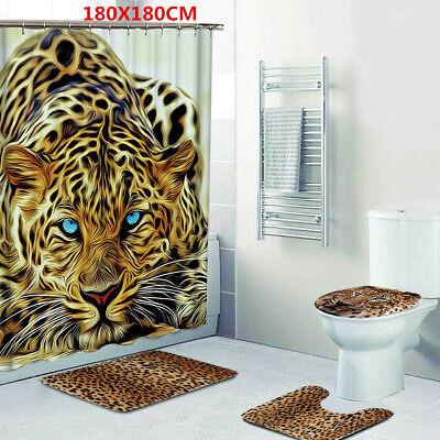 Leopard Bath Rugs - 4x Leopard Non-Slip Pedestal Rug + Lid Toilet Cover + Bath Mat + Shower