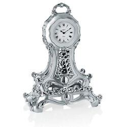 Italian Silver Resin Table Pendulum Clock, Baroque Style, Hand Made